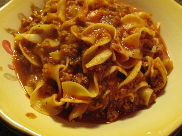My Five Alarm Egg Noodles and Turkey Meat Sauce.