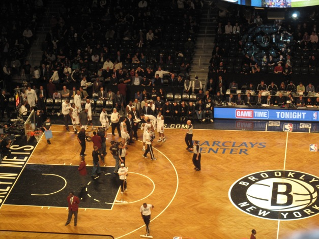 Nets Huddle.  they know now they let one get away and gave away home court advantage.