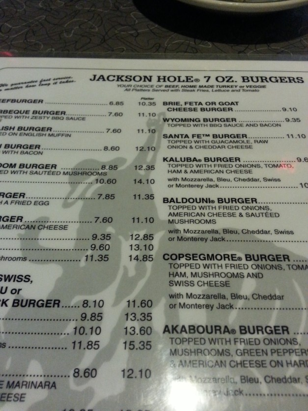Inside the Menu of Jackson Hole