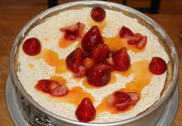 Strawberry Topped Riccotta Cheesecake