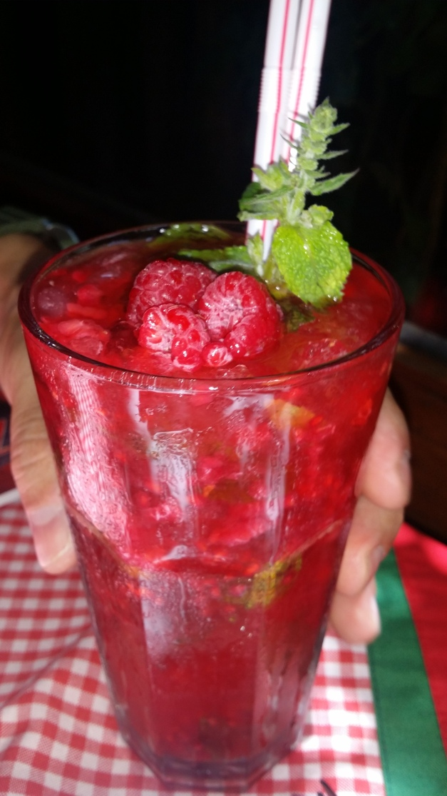 Raspberry Mojito with fresh raspberries