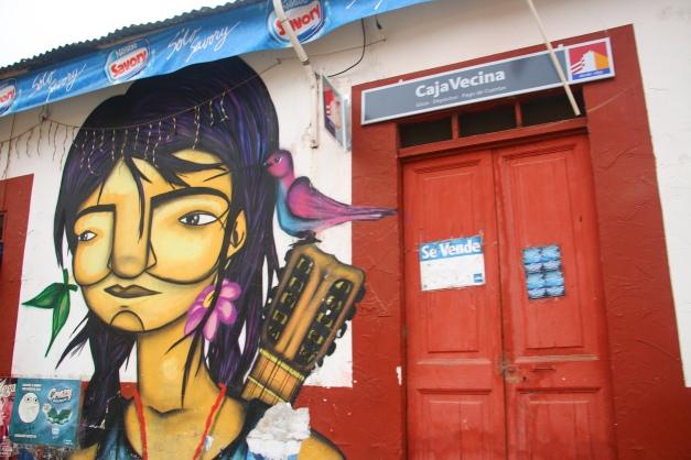 Public Mural De Chile Girl & Her Guitar
